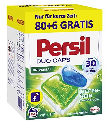 Persil Duo-Caps Universal, Vollwaschmittel, 80+6 (1 x 86) Waschladungen für Fleckenentfernung, Leuchtkraft und hygienisch reine Wäsche