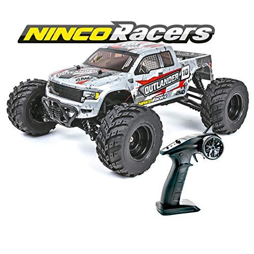 Ninco-NH93141 Ninco, NincoRacers Outlander. Monster truck teledirigido a escala 1/12 y tracción a las 4 ruedas. Medidas: 34x26x15,5 cm, color gris (NH93141)