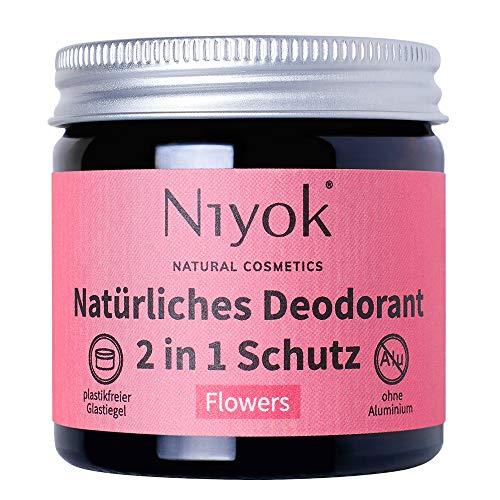 Niyok® 2 in 1 Deo ohne Aluminium Antitranspirant Deocreme Deodorant Creme | Damen | Herren gegen starkes Schwitzen aluminiumfrei - Flowers – 40ml