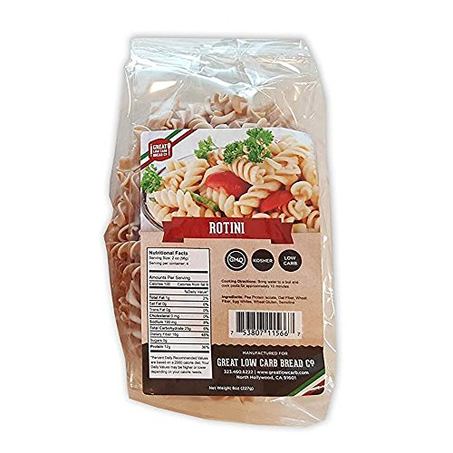 Great Low Carb Bread Co. Rotini Pasta 8 oz. Low Carb Pasta, Organic, Kosher, No GMO, Make Mac n Cheese, Cold Pasta Salads
