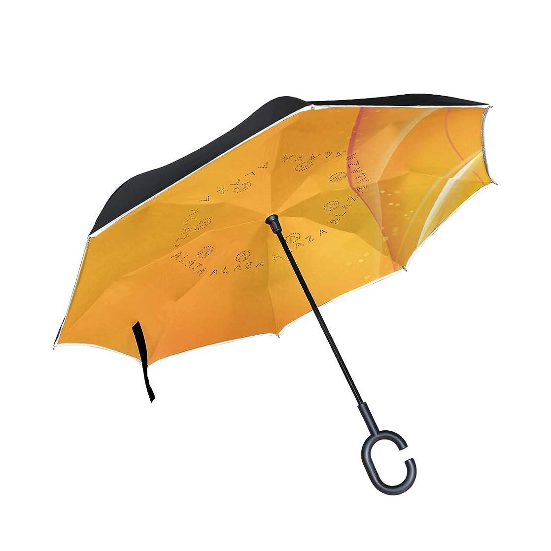 Reverse Umbrella,Orange Spring Background Inverted Night Reflective Edge Golf Umbrellas,Double Layered Polyester Canopy,O-Shape Handle oeupocpj39581