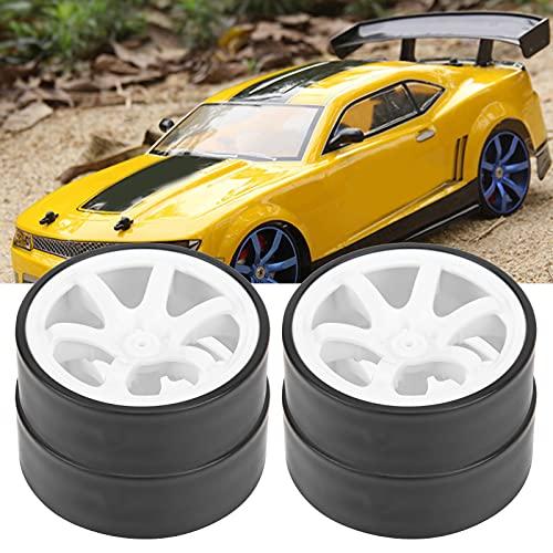 RC Auto Drift Reifen, 4 STÜCKE 6 Speichen Kunststofffelgen mit Gummireifen RC Auto Drift Reifen Passend für 1/10 RC Drift Auto On-Road Drifting Car(Weiß)