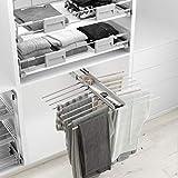 Casaenorden - pantalonero extraíble doble con bandeja - 18 pantalones - perchero para pantalones, acero cromo