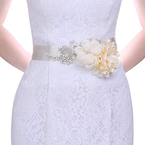 Azaleas Women's Flower Bridal Belt Sashes Wedding Belts Sash for Wedding,Wedding Belt for Bride Dress Ivory(S172)