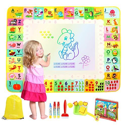 eisaro Agua Dibujo Pintura 120 * 90 cm, Alfombra de Agua Doodle No Toxica, Libro de Dibujo de Agua, 4 bolígrafos mágicos y 1 Mochila Juegos Juguetes Educativo para niño niño