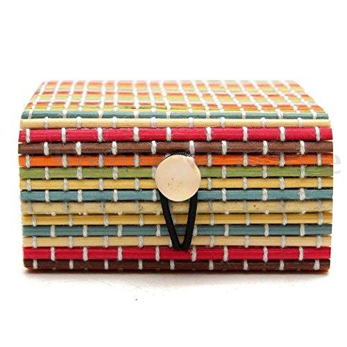 Boîte de rangement,Sensail MIini Boîte à bijoux coffre à bijoux de Bambou en bois (B)