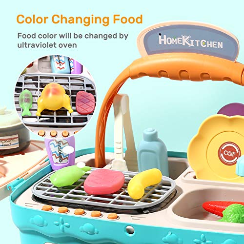 CUTE STONE Play Kitchen Picnic Toy Playset, Portable Picnic Basket Kids Kitchen Toys with Light and Music, Color Changing Play Foods, Play Sink toy, Pretend Play Oven and Kitchen Cooking Toys Accessories for Girls Boys Toddlers