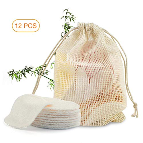 Coussins démaquillants 12PCS, coton lavable en coton bambou avec sac à linge, diamètre 8CM, 2 couches de fibres de bambou, démaquillant lavable, coton lavable, maquillage réutilisable, draps