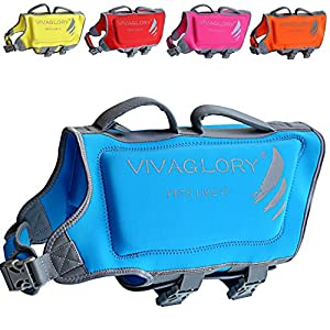Vivaglory Dog Life Vests for Swimming, Skin-Friendly Neoprene Life Jackets for Dogs with Dual Rescue Handles and Superior Buoyancy, Blue, Large