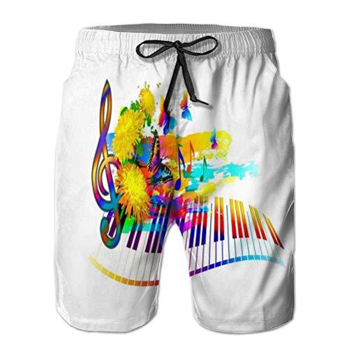 Hombres Verano Pantalones Cortos de Playa de Secado rápido Pantalones Cortos de Tabla Música Fondo de Festival de Verano Teclado de Piano Flores Notas Banners Web Folletos Volantes Cubiertas