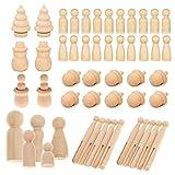 Woohome 71 Pz Muñecas de Madera Peg Inacabado Personas de Madera Muñecas de Madera Juguete de Madera para Proyectos de Manualidades para Niños, Pintura, Juegos, 8 Estilo