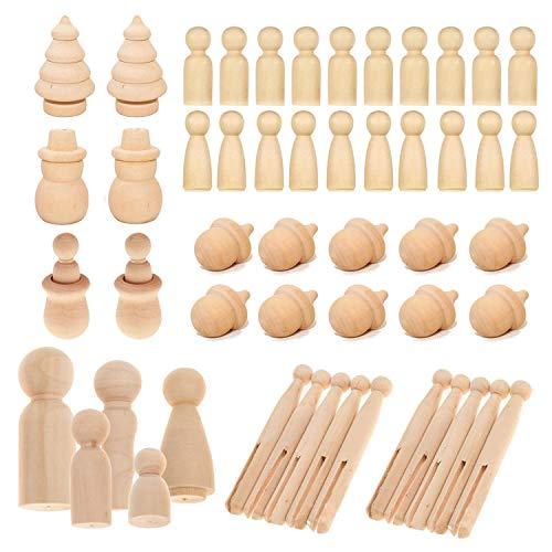 Woohome 71 Stück Figuren Holzfiguren, Holzfiguren Mädchen Dekoration Kleine Holzfiguren zum DIY Holzfiguren, Kinder Bastelprojekte, Malen, Spiele, 8 Stil
