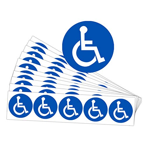 Disabled Wheelchair Symbol Labels | Handicap Signs Stickers 2 inch Round Convenient Decals for Handicapped Parking 60 pcs