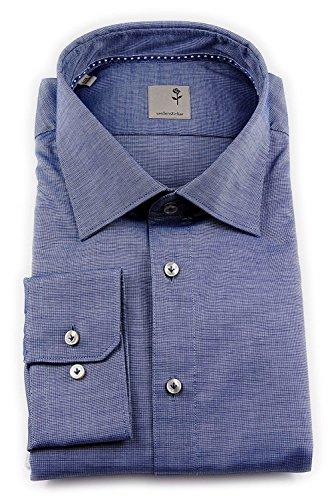 Seidensticker Herren Langarm Hemd Schwarze Rose Slim Fit Paul Tape2 blau strukturiert 243160.17 (43, Blau)