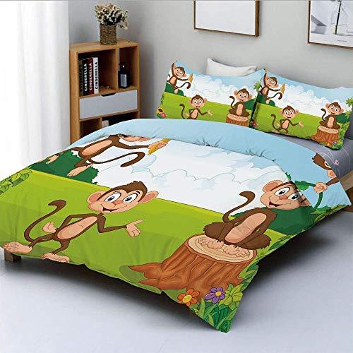 Set copripiumino, tre scimmie che giocano in una foresta tropicale Banana Africa Safari natura decorativa Set biancheria da letto decorativo 3 pezzi con 2 cuscini, verde blu marrone chiaro, miglior gi