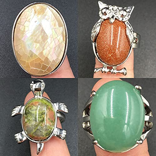 YANGYUE Nácar Shell A Goldstone Oval Cat Turtle Mujeres Hombres Art Water Oval Ring 7~12'Ajustar tamaño Pwb725