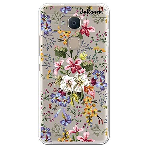 dakanna Kompatibel mit [Bq Aquaris V - VS] Flexible Silikon-Handy-Hülle [Transparenter Hintergr&] Blumen Bouquet Design, TPU Hülle Cover Schutzhülle für Dein Smartphone