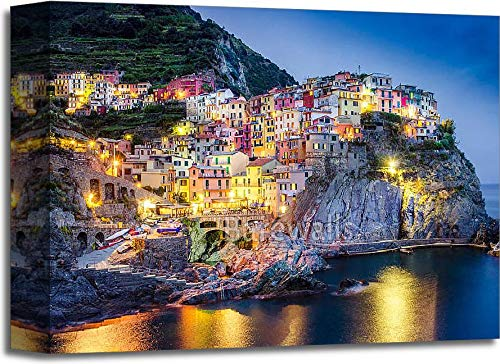Scenic Night View of Colorful Village Manarola in Cinque Terre Gallery Wrapped Canvas Art (11in. x 14in.)
