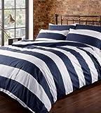 Set y Juego Cubre Funda de Edredón Nórdico Azul y Blanco - Louisiana Bedding:Double