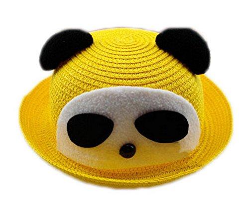 Koala Superstore Bello del Panda del Bambino del Cappello di Paglia di Sun di Estate della Benna Cappello Topper, Giallo