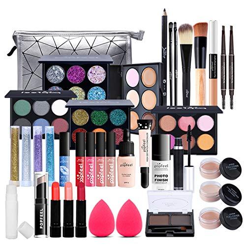 MKNZOME 37St Kosmetische Schmink Set, Multifunktions Schönheit Etui mit Lidschatten Lippengloss Rouge Concealer Usw für Gesicht, Augen und Lippen - Geschenk Kosmetik Produkte Set#3
