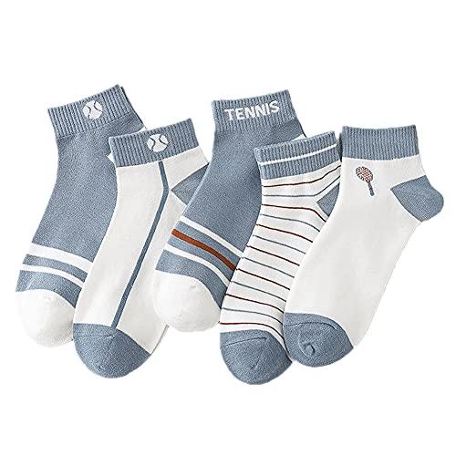 SHHMA Calcetines para Hombre, 5 Pares de Calcetines Cortos, Calcetines Deportivos Finos, Calcetines de algodón Azul, Calcetines de Tubo para Hombre absorbentes del Sudor