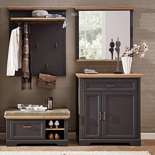 Lomadox Landhaus Garderoben-Set in Graphit mit Artisan Eiche, Breite: 210cm