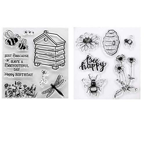 Welcome to Joyful Home 2pc/Set Happy Bees Nest House Clear Stamp for Card Making Decoration and Scrapbooking 11x16cm
