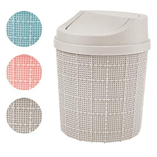 goodspot® tafel prullenbak (grijs) met zwenkdeksel 1,5l tafel emmer bureau compact ontwerp cosmetische prullenbak mini vuilnisbak badkamer voor de wastafel