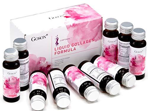 Goson Hydrolyzed Liquid Collagen Drink, 10,000mg Wild-Caught Marine Collagen Peptide per Bottle with Jasmine Extract, Q10, Coenzyme, Piperine (1 Box, 10 Bottles, Citrus Flavor)