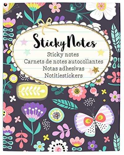 Flowers & Friends Sticky Notes Büchlein | 400 bunt bedruckte Haftnotizzettel für die gute Laune am Schreibtisch oder unterwegs | Im praktischen Büchlein