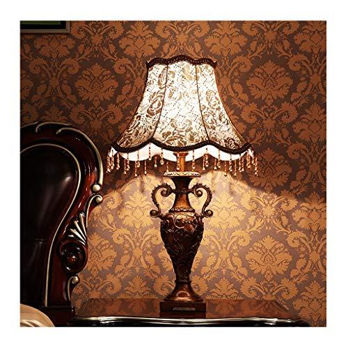 Lampe de table Chambre Lampe de bureau Salon Décoration de table de chevet Lumière Style européen Ombre en tissu Décoration rétro