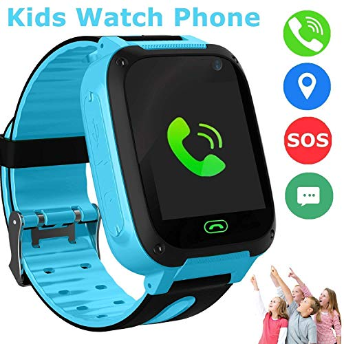 SZBXD Kids Smart Watch, LBS/GPS Tracker SOS Camera Voice Chat Touch Screen Games Alarm Clock Flashlight Phone Watch for 3-12 Year Old Boys Girls Great Birthday Gift-Blue