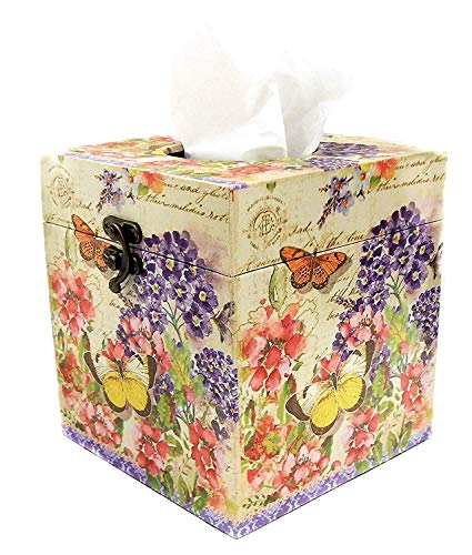 Bellaa 28311 Butterfly Square Tissue Box Holder Cover Paper Napkin Dispenser Home Office Car Top Lid Wooden Hinged Refillable (Mix 28311)
