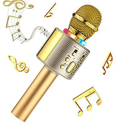 Wireless Karaoke Machine for Party Singing,Karaoke Microphones for Kids Compatible with Android and iOS Device for Home KTV Outdoor,18th Birthday Gifts For Girls (gold)