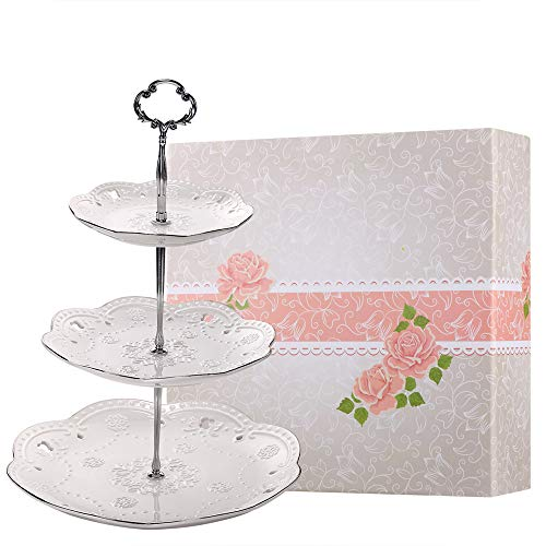 BonNoces 3-Tier Porcelain Embossed Cupcake Stand - Pure White Rimmed with Silver Dessert Cake Stand - Pastry Serving Tray Platter for Tea Party, Wedding and Birthday