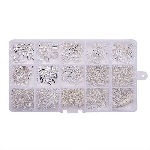 15 rejillas/caja exquisita, resistente, collar y pulseras, hecho a mano, kit de joyería – plata