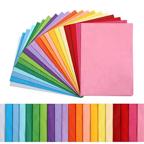 Kesote 100x Seidenpapier 20 Farbe Bunt Papier Bastelpapier Transparent Geschenkpapier zum Basteln Geschenk Deko (50 x 35 cm)