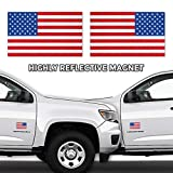 ADV-MARKET Reflective American USA Flag Car Magnet Sticker Sign 3'x5' Forward Reverse Pair Patriotic Auto Truck Vehicle Tactical Military Memorial Day Patriots Veterans Day 4th of July