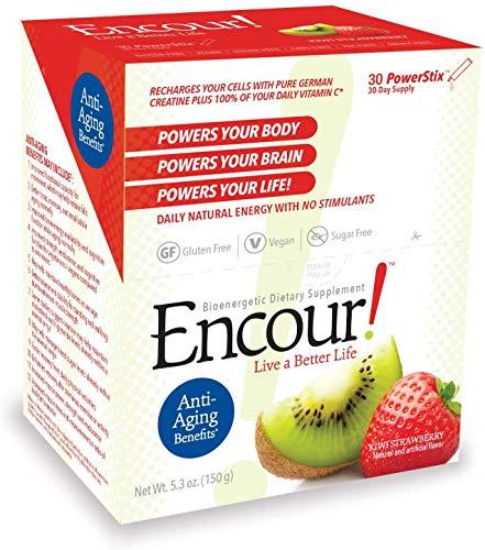 Encour! Bioenergetic Anti-Aging Supplement   Single-Serve Drink Powder Packs   30 Day Supply (Kiwi Strawberry)