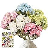 SnialGarden Flor de Hortensia Artificial de 30 Cabezas, 5 Paquetes de Ramo de Hortensias Realistas de Seda con Tarjeta de Felicitación para Regalo de Decoración de Fiesta de Boda