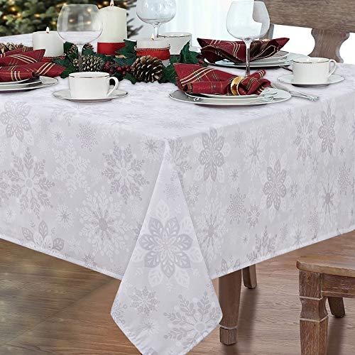 Elloevn Weihnachten Schneeflocken Tischdecke, Abwaschbare Weiße Diverse Schneeflocken Weihnachtstischdecke, Abwaschbare Platz Tischdecke für Tischdekoration, Restaurant, Feste, 152 * 213 cm