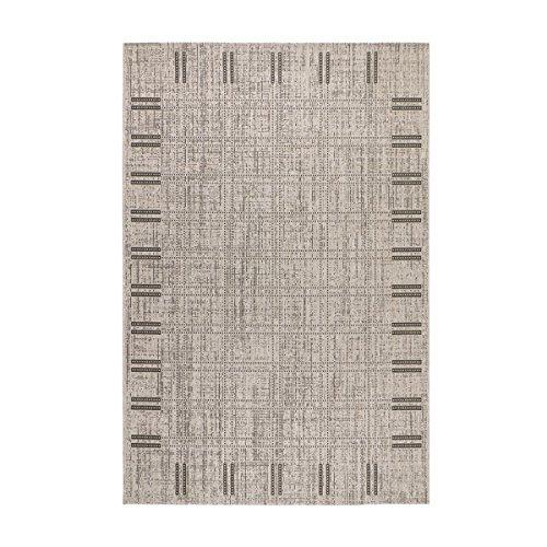 havatex Sisal-Look Flachgewebe Teppich Lux Frame 1 Grau - robuste Kunstfaser in Sisal-Optik   pflegeleicht & strapazierfähig   für Wohnzimmer Schlafzimmer, Farbe:Grau, Größe:120 x 170 cm