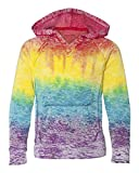 Koloa Surf Co. Girls Rainbow Stripe V-Neck Burnout Hoodies in Size Large