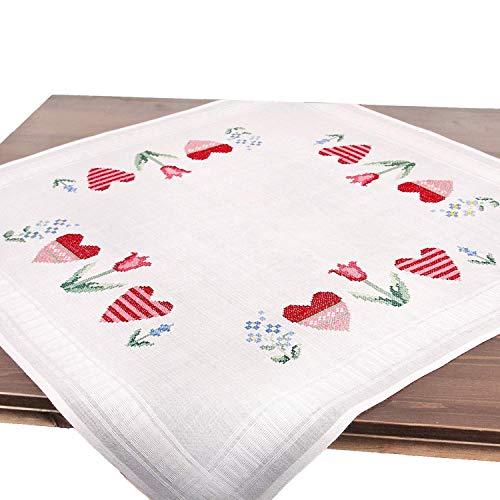 Stickpackung FRÜHLINGSROMANTIK, Kreuzstich Tischdecken Set vorgezeichnet zum Sticken, Stickset zum Selbersticken