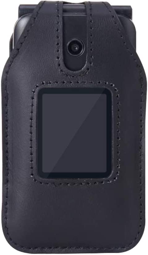 Fitted Leather Case for Cricket Debut Flip (U102AC), AT&T Cingular Flip IV, Flip 4 (U102AA), Features: Rotating Belt Clip, Screen & Keypad Protection, Secure Fit