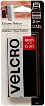 VELCRO Brand Extreme Tape Strips | 4 x 2 Inch 2 Sets | Holds 15 lbs |Heavy Duty Black..