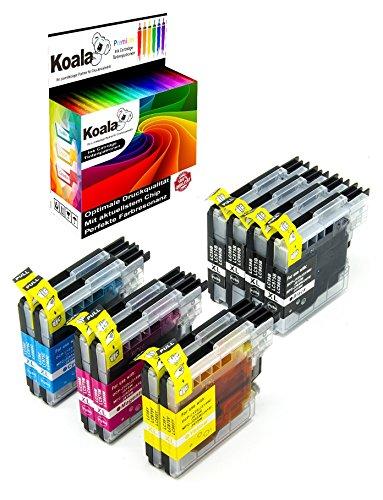 Koala 10 Druckerpatronen kompatibel für Brother LC985 LC980 LC1100 für Brother DCP-J125 DCP-J515W MFC-J220 MFC-J265 DCP-J515W MFC-J615W MFC-670CDW 4*BK 2*C 2*M 2*Y