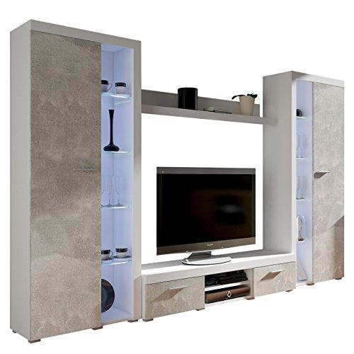 Wohnwand Rango XL, Modernes Wohnzimmer Set, Design Anbauwand, Schrankwand, Mediawand, Vitrine, TV Lowboard, (Weiß/Beton Hell, mit weißer LED Beleuchtung)