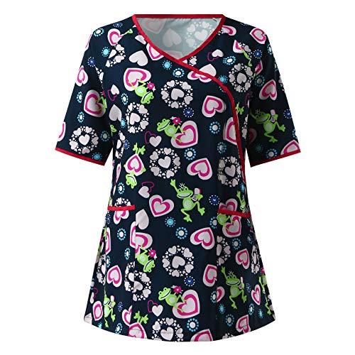 VEMOW Uniforme de Trabajo Camisas para Mujeres Cuello Y Manga Corta, Motivo de Pascua Impreso Sanitario Uniforme Cordón Trasero Laboral para SPA, Enfermeras, Estudiantes y Enfermería(B5 Verde,S)